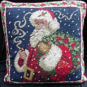Vintage Portrait of Santa , Needlepoint Pillow