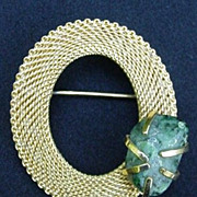 Goldtone Oval Mesh Pin with Prong-Mounted, Faux Jade Stone