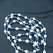 Two-Tone Blue Beaded Necklace with Silvertone Spacers