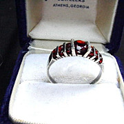 Sterling Ring with Channel Mounted Red Stones