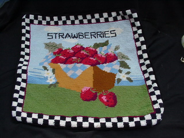 Needlepoint Pillow with Heaping Basket of Strawberries