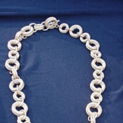 Gold Tone Mesh Chain Necklace w Alternating Size Chain