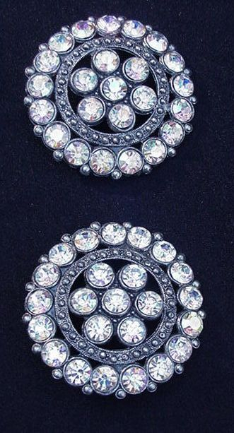 Fabulous Pair Aurora Borealis Rhinestone Coat Buttons in Metal Backing