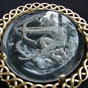 1970s Crown Trifari Zodiac Pendant, Intaglio Cut Clear Glass on Goldtone Chain