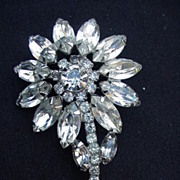 Vintage Rhinestone Flower Pin, Prong-Mounted Stones, Silver Metal Backing