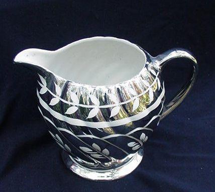 Sadler Silver Luster Pitcher, Leaf Design, England
