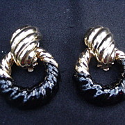 Ciner Clip Earrings, Black Enamel and Gold-Toned Loops