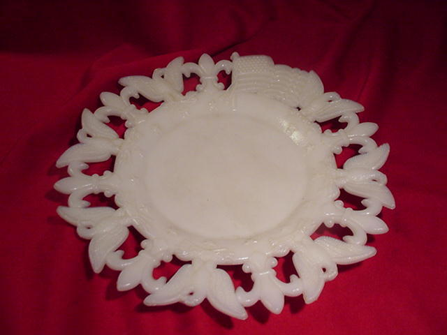 1903 Milk Glass Plate with Eagles, Flags and Fleur de Lis Border