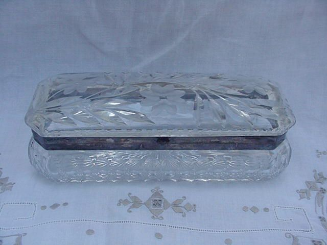 Victorian Style Cut Glass Glove Box w Leaves & Flowers, Silverplated Frame
