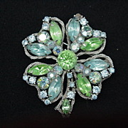 Weiss Four-Leaf Clover Pin, Blue & Green Opalescent Stones