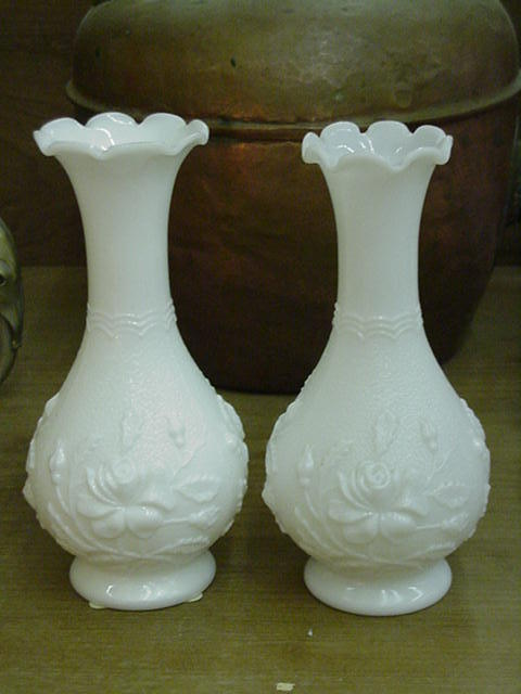 Pair of Imperial Glass Vases, Milk Glass w Roses