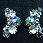 Weiss Clip Earrings, Aurora Borealis, Amethyst Colored and Clear Rhinestones