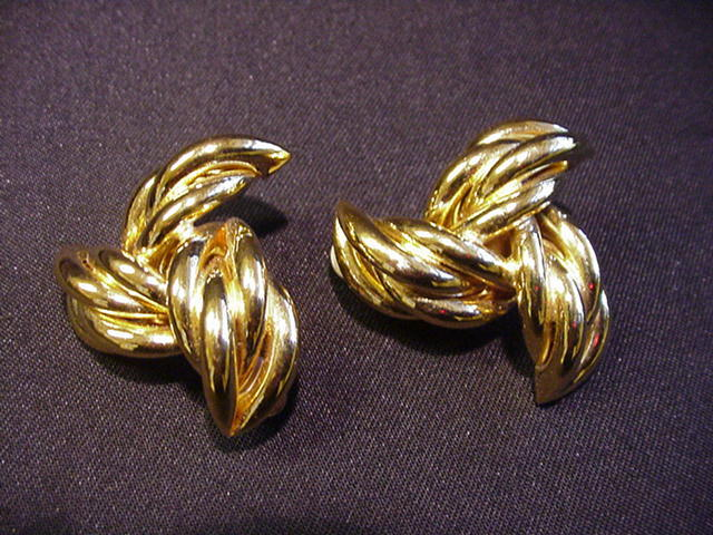 Givenchy Goldtone Metal Clip Earrings, Trefoil Shape