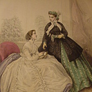 Le Bon Ton, Paris Fashion Journal Illustration, 19th C. Print