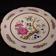 Pre-WWII Selb, Bavaria, Black Knight Plate, C.M. Hutschenreuther Porcelain Factory, Floral Center, Floral Border