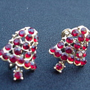 Vintage Christmas Bell Earrings, Red Stones, Movable Clapper