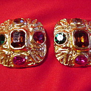 Vintage Goldtone Square, Clip Earrings w Faux Stones