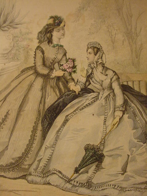 Le Bon Ton Fashion Illustration from Paris Journal de Modes, 19th C.