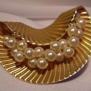 Vintage Napier Brooch w Simulated Pearls, Goldtone Frame