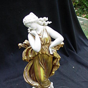 19th C. Porcelain Figurine, Dancer  in Gold-Painted Costume
