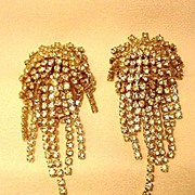 Rhinestone Clip Earrings with Rows of Dangling Rhinestones