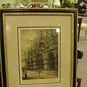 Etching of St. Mark's, Venice, Newly Framed