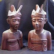 Pair of Vintage Bali Wood Carvings