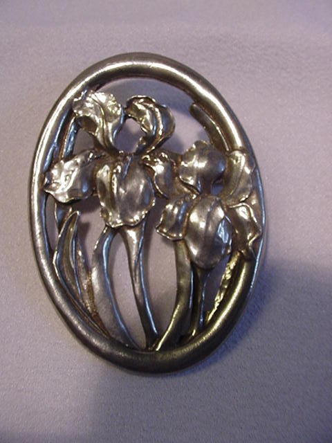 Seagull Pewter Oval Pin, Brooch w Irises, Canada, 1987