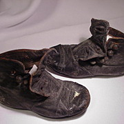 19th C. Pair of Child's Leather Button Up Shoes