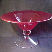 Vintage Ruby Glass Compote, Clear Pedestal Base