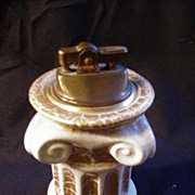Gold & White Ceramic Table Lighter, Italy, Ionic Column Shape