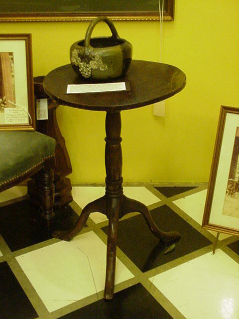 Early Primitive Stand with Tilt Top, Tripod Cabriole Legs, Pad Feet