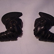Pr. Carved Wood Heads, African Busts