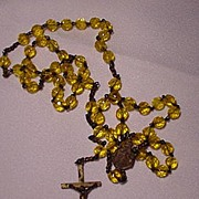 Early 20th C. Rosary Necklace w Yellow Glass Beads