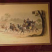 19th C. English Coaching Scene, Hand-Colored Print,  C.B. Newhouse