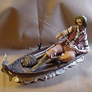 Capodimonte, Made in Italy, Large Figurine of Fisherman in Boat