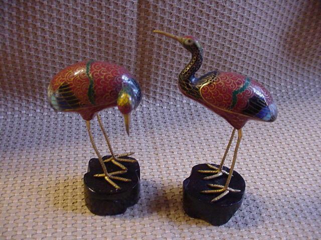 Pair of Vintage Cloisonne Cranes