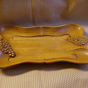 Sculpted Vintage Wood Tray with Grape Handles