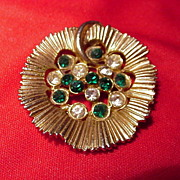 Flower-shaped Goldtone Brooch w Emerald and Clear Rhinestones