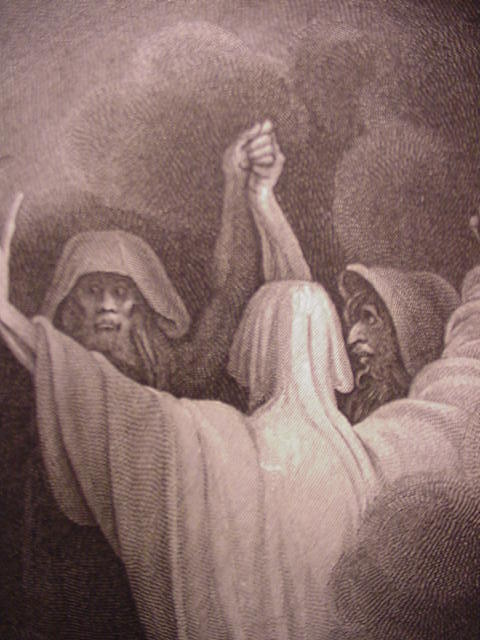 Shakespeare's Macbeth Engraving of Three Witches, 1798 by R. Westall