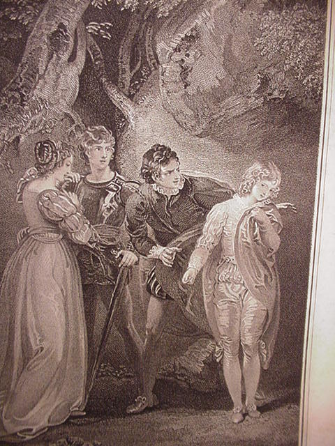 Beautifully Engraved Romantic Scene from Two Gentlemen of Verona