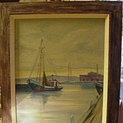 C.T.Stepule, American Artist, Oil, Harbor Scene, Mass.