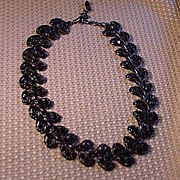 Black Metal Necklace with Black Glass Faceted Stones
