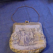 Fine Petit Point Purse w Man & Woman Strolling in English Garden