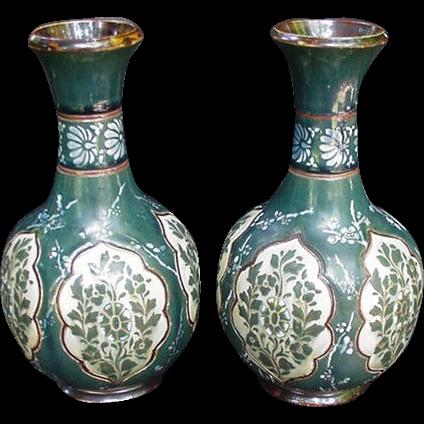 Pair Royal Doulton Lambeth Vases, Slaters Patent, Stoneware