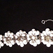 Vintage White Opaque Beaded Bracelet w Smoky Rhinestones