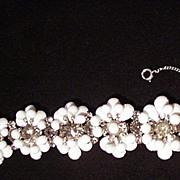 Vintage White Opaque Beaded Bracelet w Smoky Rhinestones