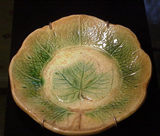 19th C. Majolica Leaf Shaped Plate
