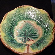 19th C. Majolica Leaf Dish, Dark Green & Beige