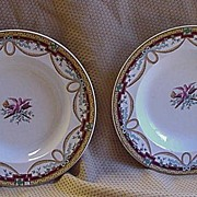 Pr. of Early Wedgwood Plates, Neoclassical Theme w Birds, Torches, Swags